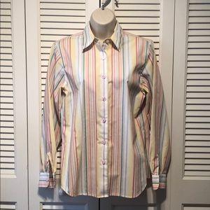 Foxcroft Striped Button-Down Shirt, Size 4 💜